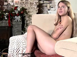 Blonde cutie too shy to play with herself